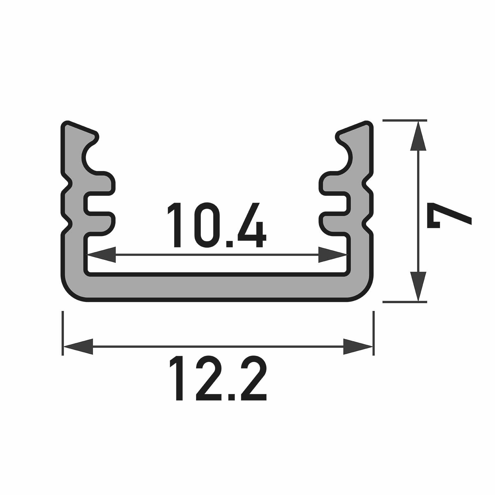 Bemassung 1-2 Meter LED Aufbauprofil SLIM (MI) - U-Profil