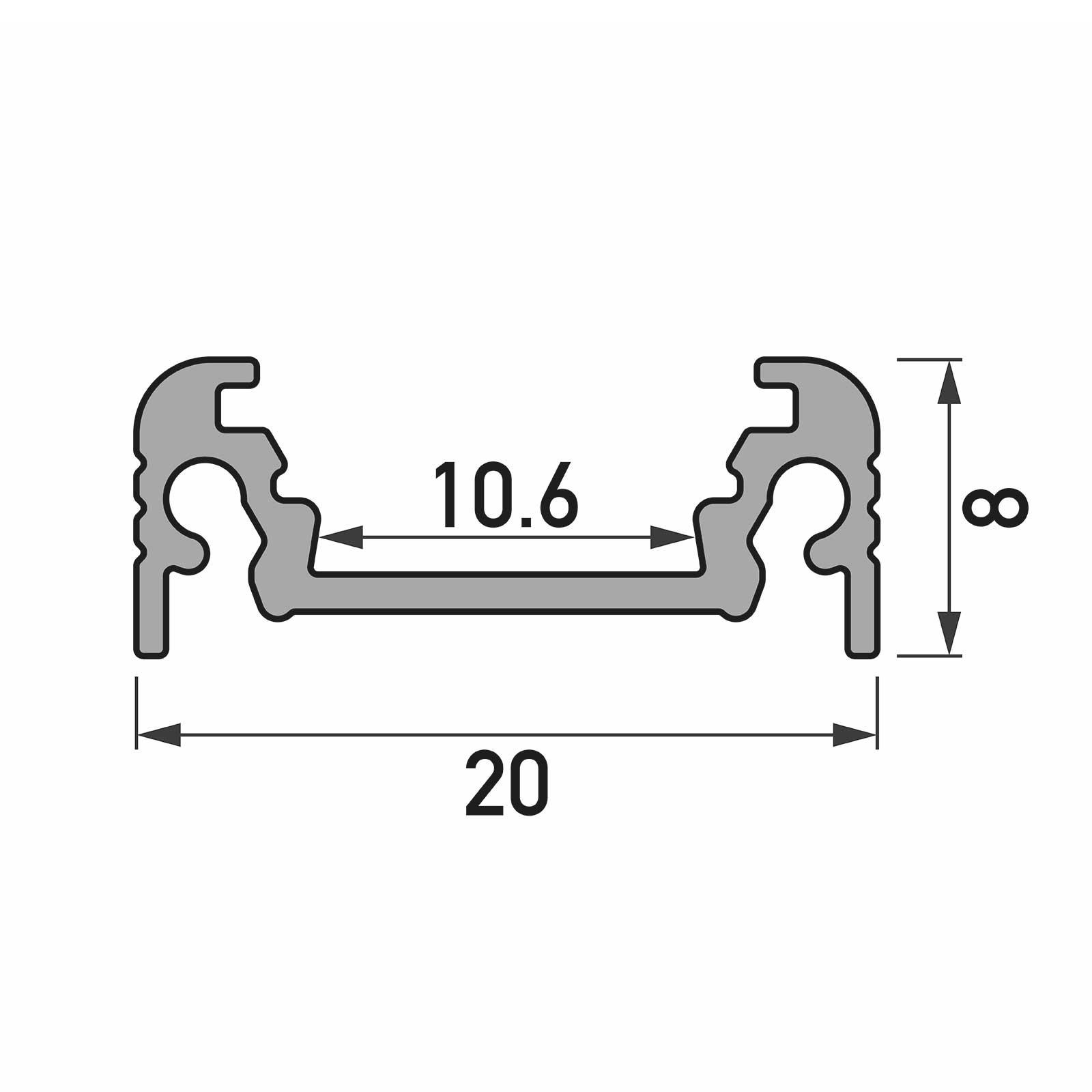 Bemassung 1-2 Meter LED Aufbauprofil SURFACE (SU) - U-Profil