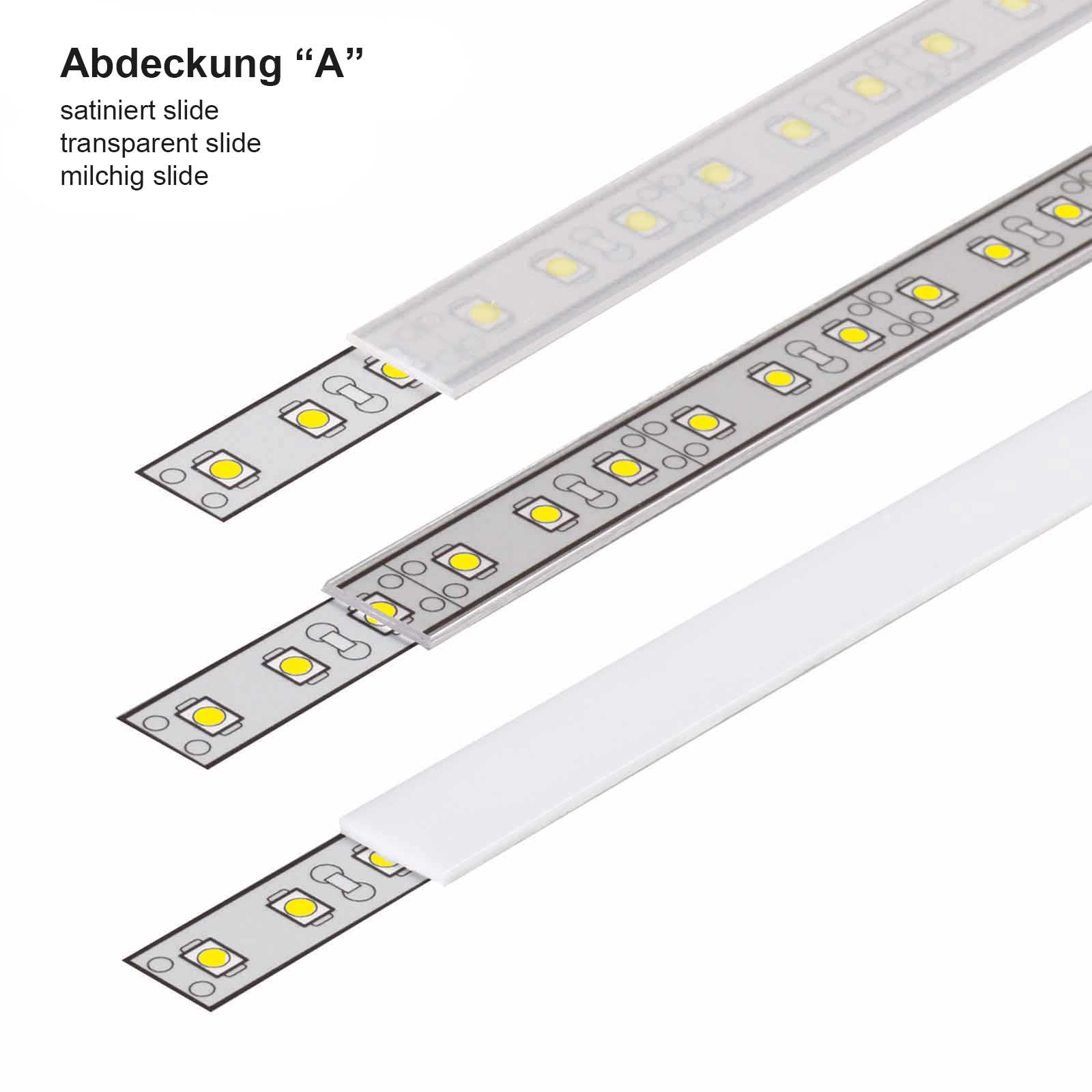 1-2 Meter LED Aufbauprofil SLIM (MI) - U-Profil - Abdeckungsarten