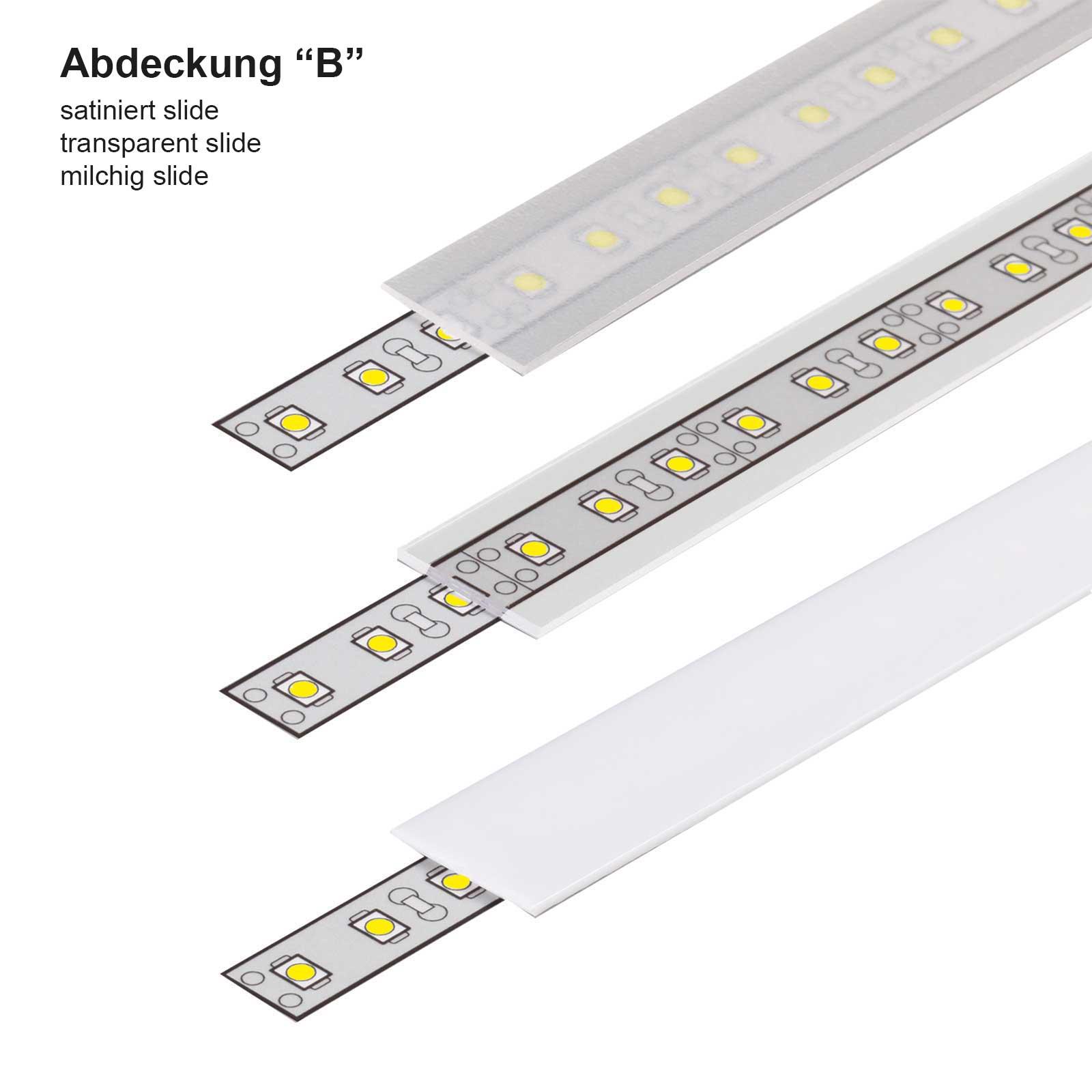 abdeckung 1-2 Meter LED Aufbauprofil SURFACE (SU) - U-Profil