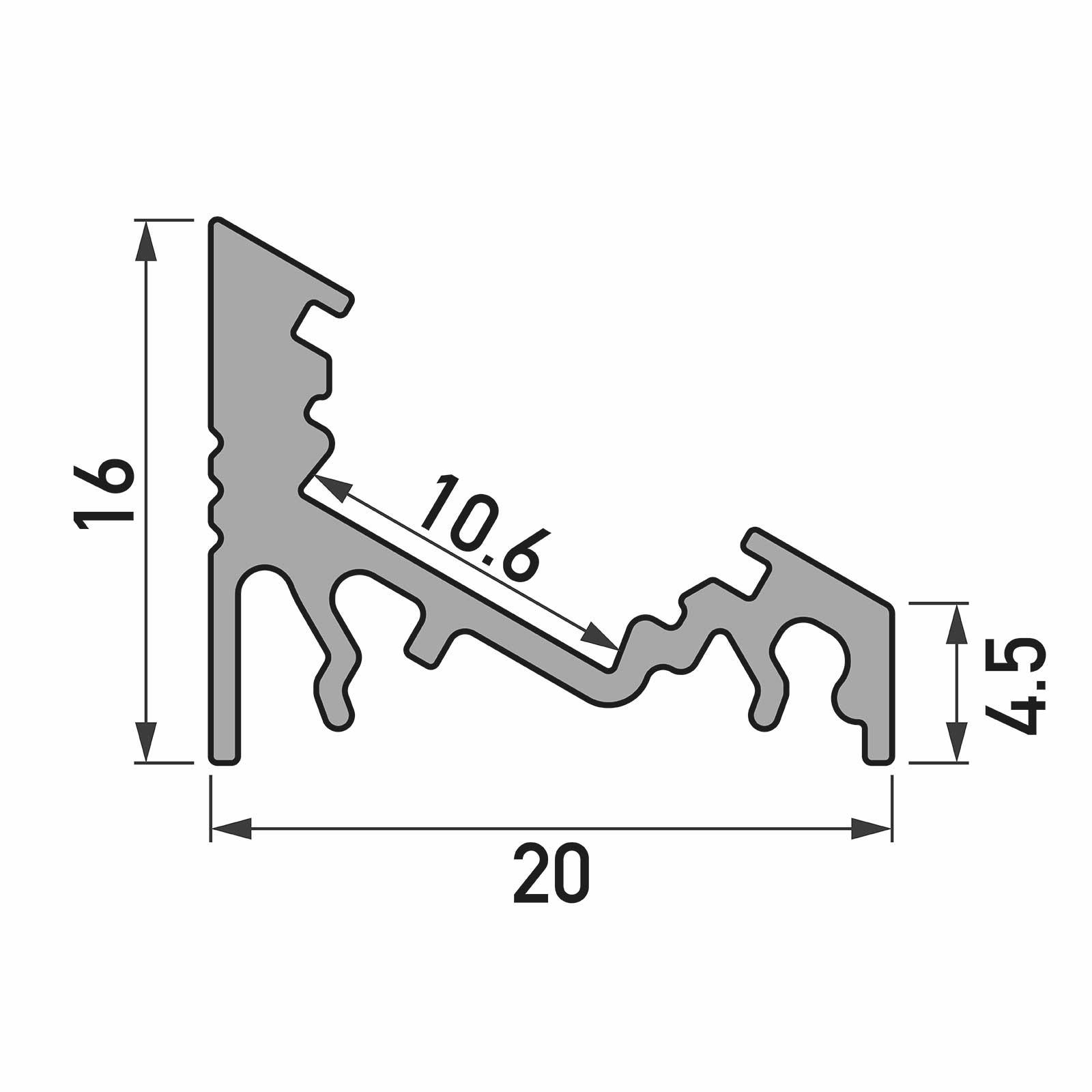 Bemassung 1-2 Meter LED Aufbau-Eckprofil CORNER (CO)