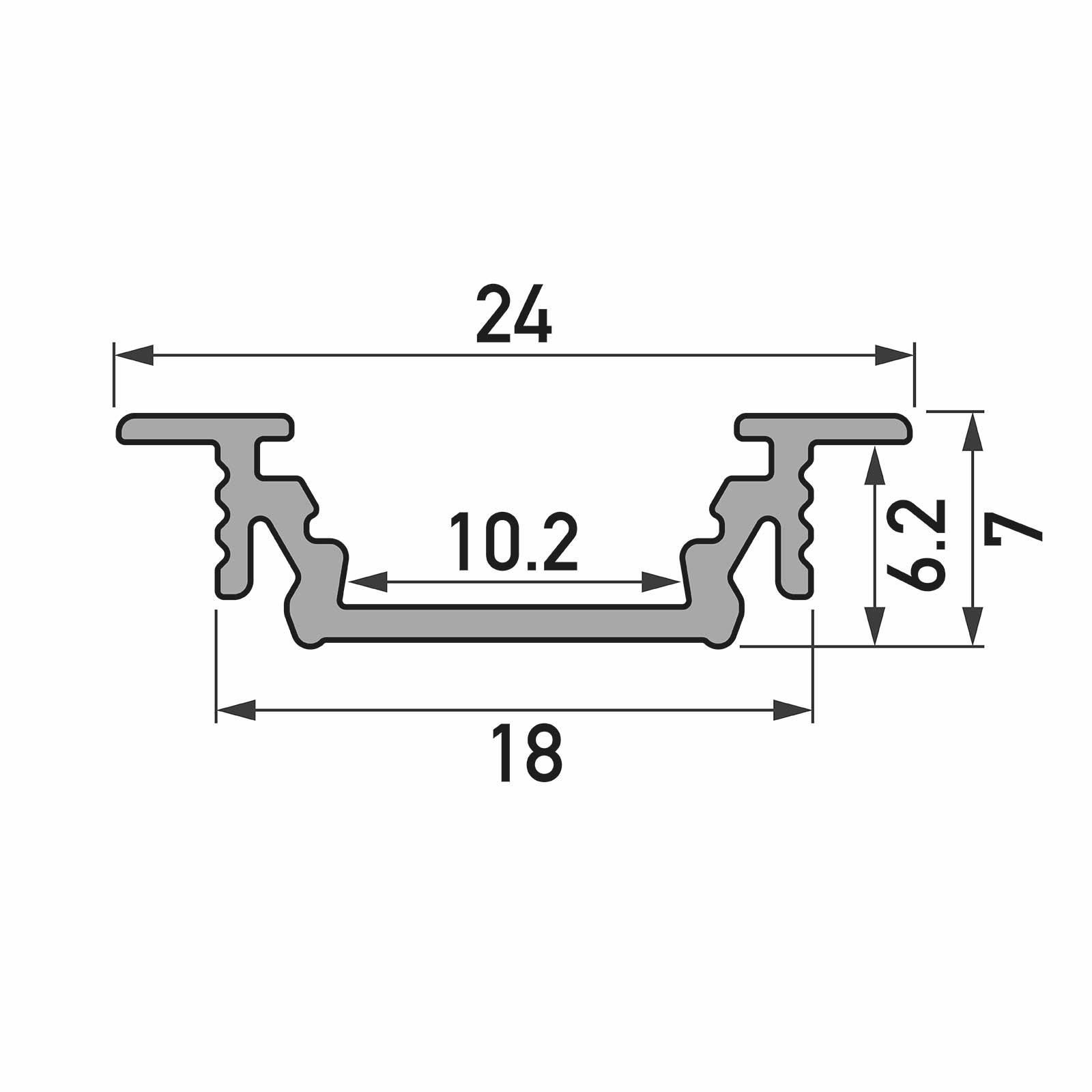 Bemassung 1-2 Meter LED Einbauprofil GROOVE (GR) - U-Profil