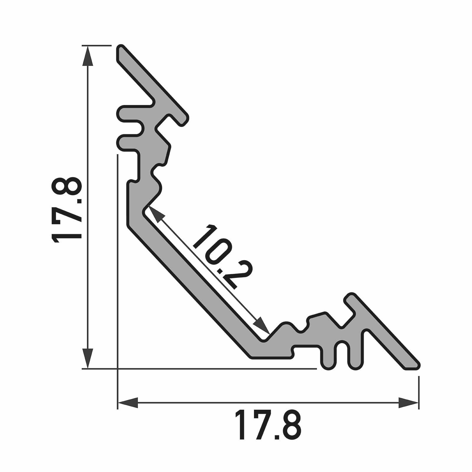 Bemassung 1-2 Meter LED Aufbau-Eckprofil TRIO (45°)