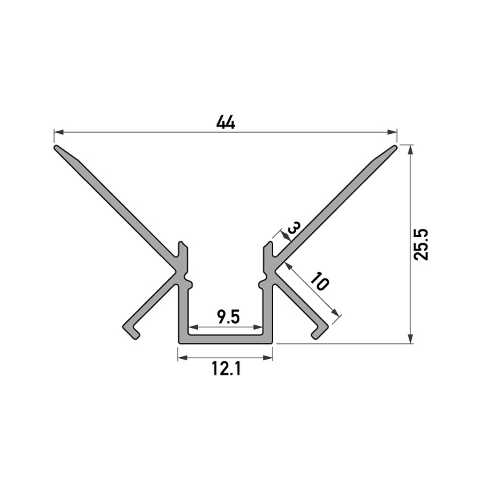 Skizze 2 Meter LED Inneneck-Aluprofil CAMBRA (CB) für Trockenbau Rigipswand