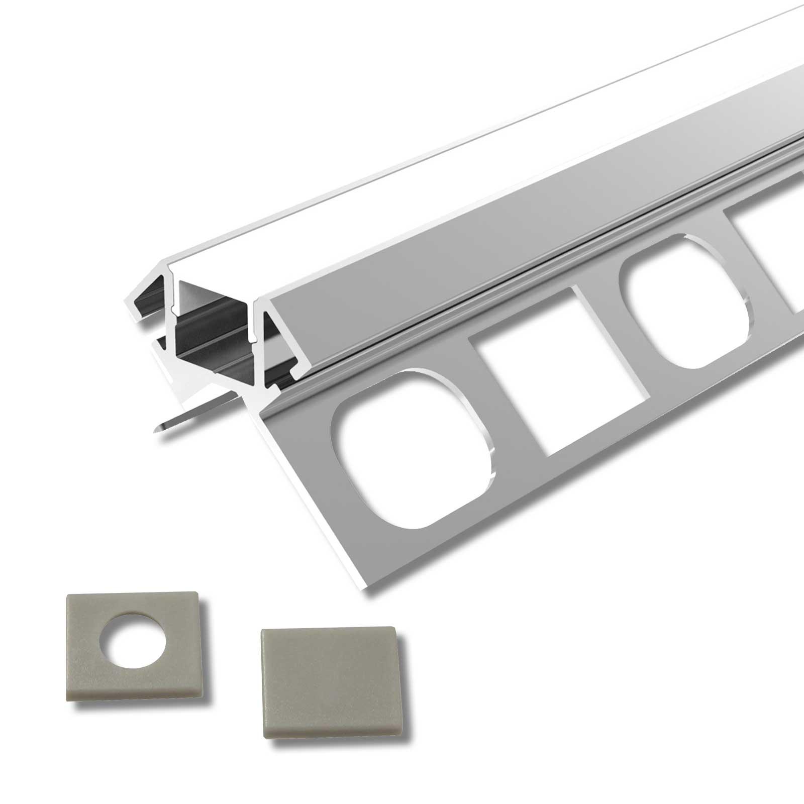 2 Meter LED Außeneck-Aluprofil ARES (AR) für Trockenbau Rigipswand Fliesenspiegel