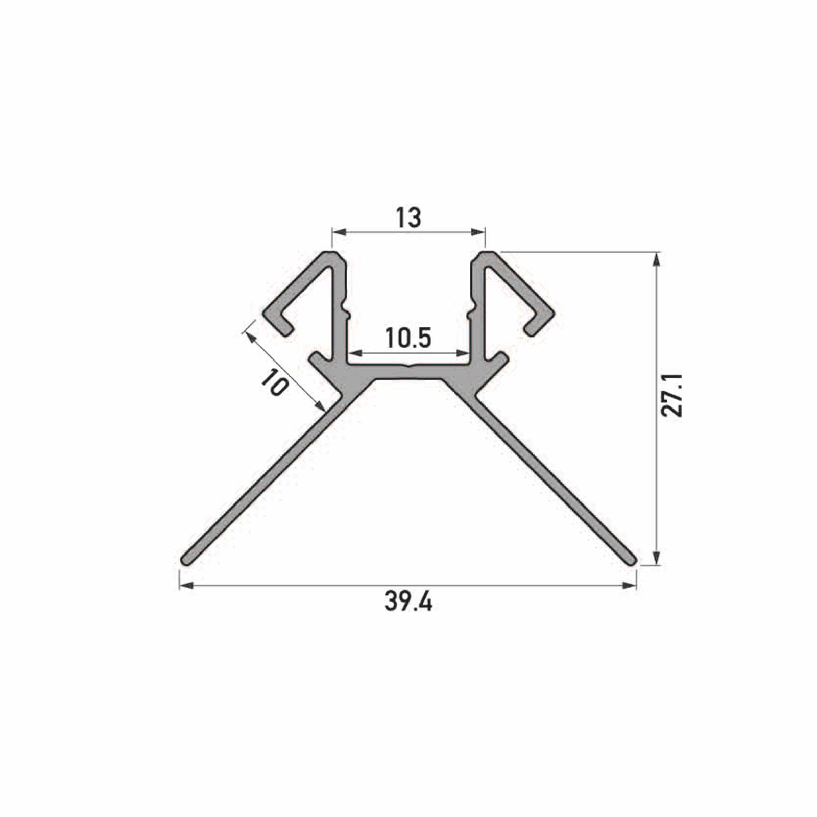 Skizze 2 Meter LED Außeneck-Aluprofil ARES (AR) für Trockenbau Rigipswand Fliesenspiegel