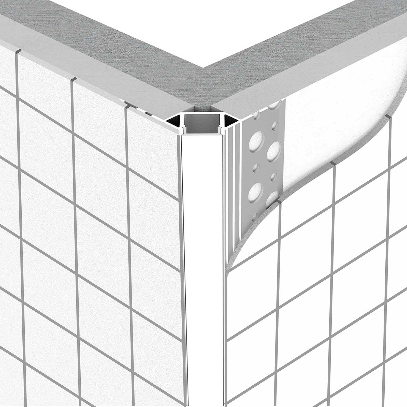 Montage 2 Meter LED Außeneck-Aluprofil ARES (AR) für Trockenbau Rigipswand Fliesenspiegel