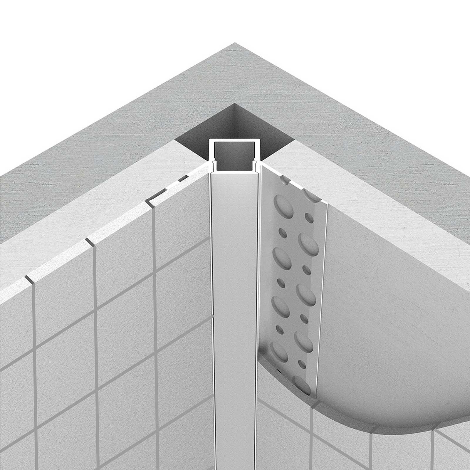 Montage 2 Meter LED Inneneck-Aluprofil TARA (TA) für Trockenbau Rigipswand Fliesenspigel