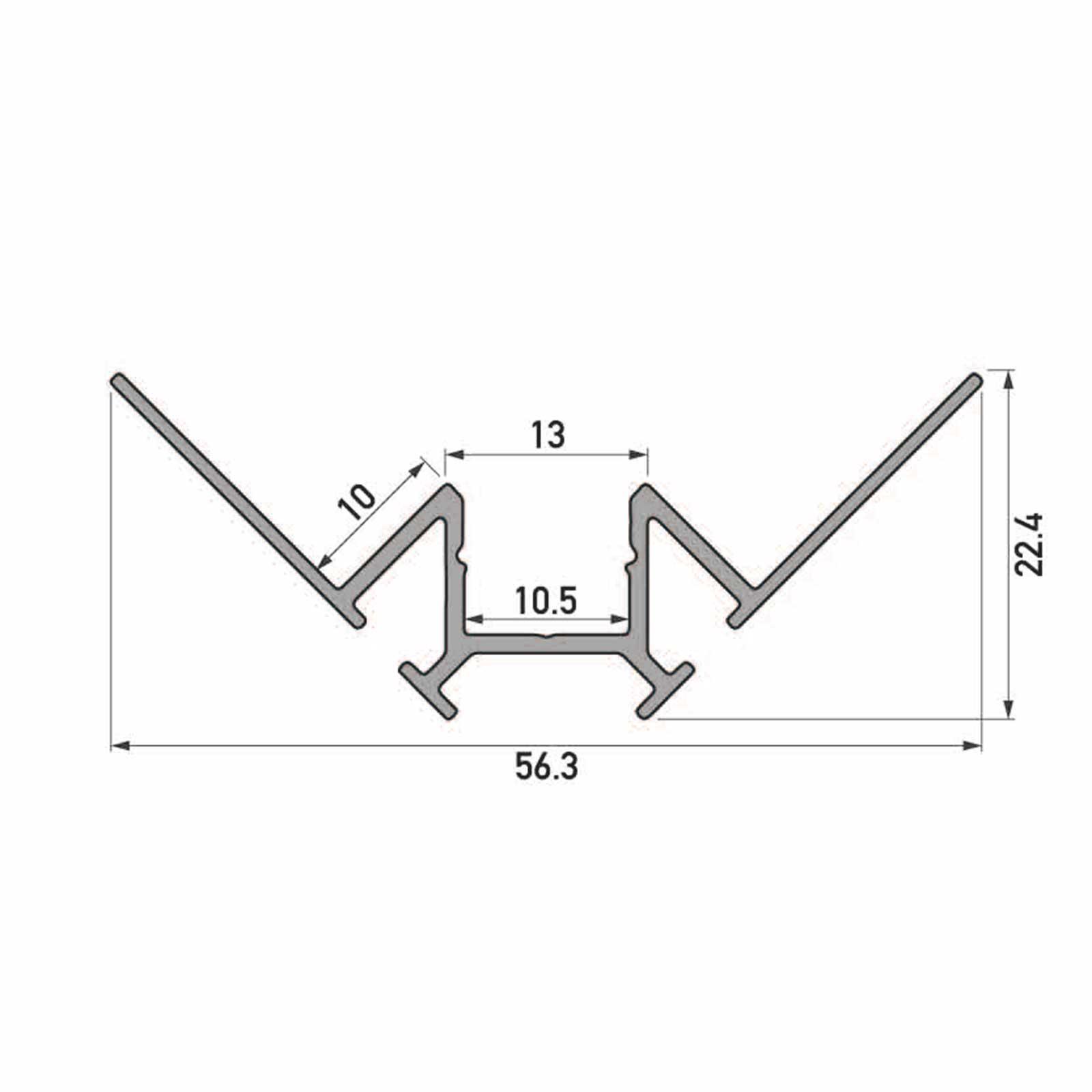 Skizze 2 Meter LED Inneneck-Aluprofil TARA (TA) für Trockenbau Rigipswand Fliesenspigel