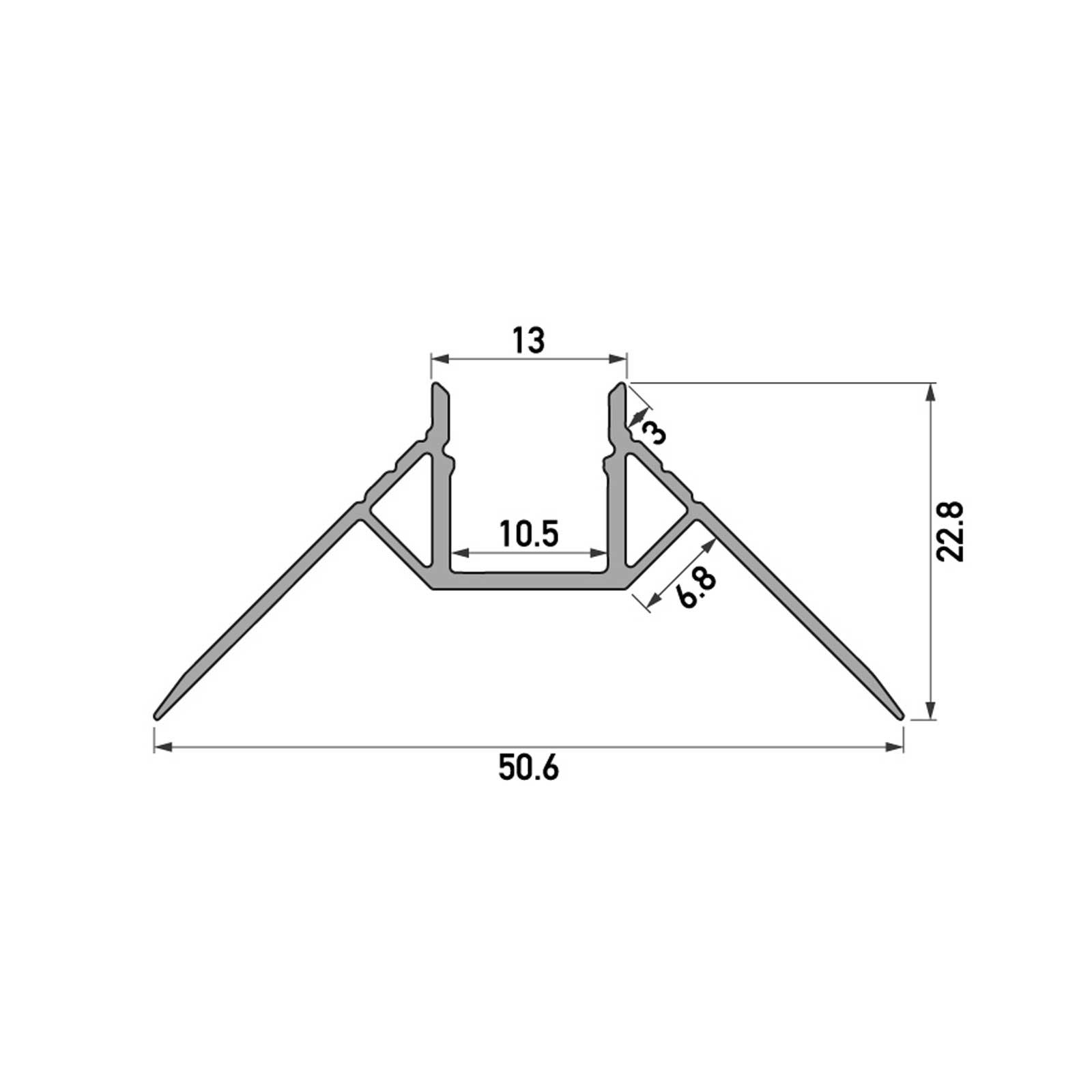Skizze 2 Meter LED Außeneck-Aluprofil GIPA (GP) für Trockenbau Rigipswand