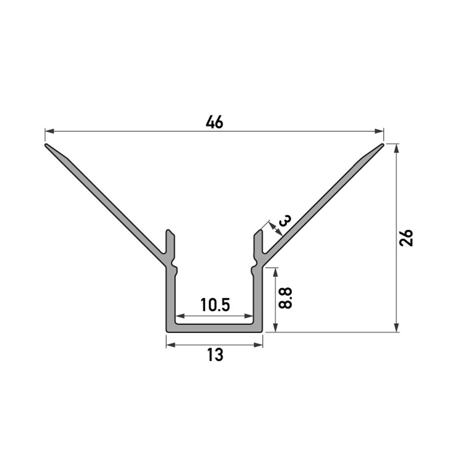 Skizze 2 Meter LED Inneneck-Aluprofil ONUR (ON) für Trockenbau Rigipswand