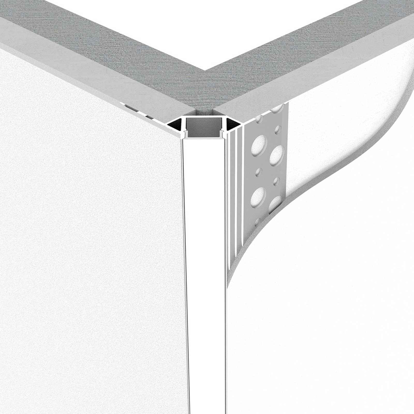 Montage 2 Meter LED Außeneck-Aluprofil GIPA (GP) für Trockenbau Rigipswand