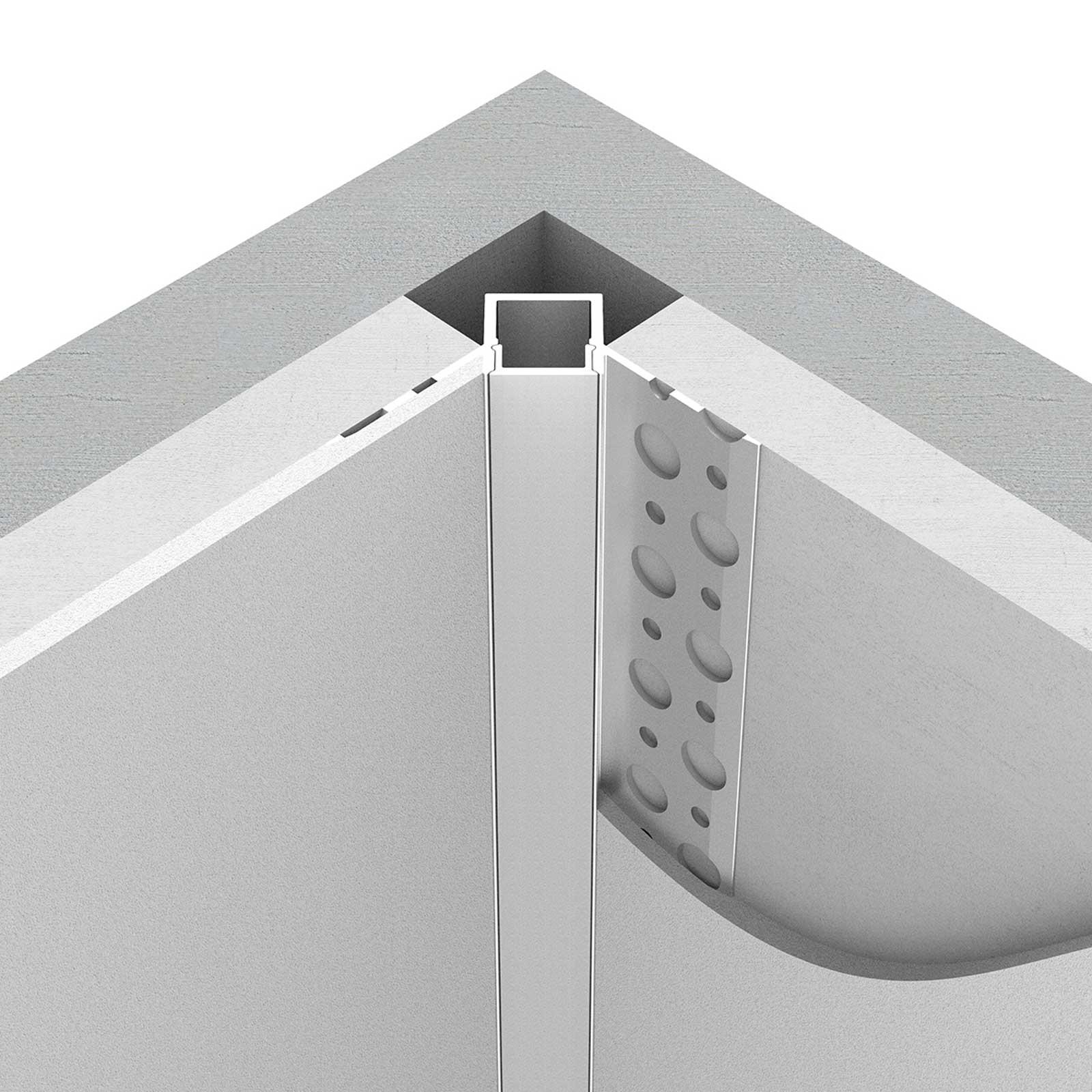 Montage 2 Meter LED Inneneck-Aluprofil ONUR (ON) für Trockenbau Rigipswand
